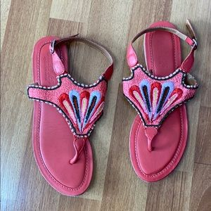 Charles David boho coral leather beaded sandals 8